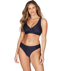 women's sea level cross front multi fit bikini top, size 10 us - blue