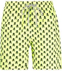 mc2 saint barth skull-print swim shorts - yellow