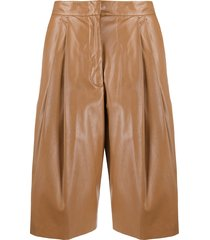 nude pleated knee-length shorts - brown