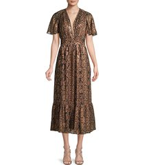 michael kors collection women's snake-print dress - cocoa black - size 4