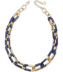 """alfani gold-tone & blue acrylic large link necklace, 20"""" + 2"""" extender, created for macy's"""