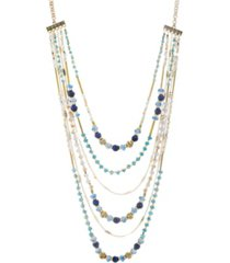 catherine malandrino women's beaded layered chain necklace