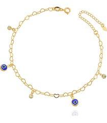 tornozeleira dona diva semi joias olho grego dourada