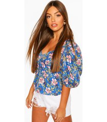 floral puff sleeve button detail blouse, blue