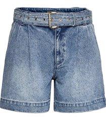 pleated belted dnm short shorts denim shorts blå michael kors