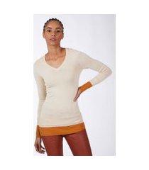 blusa tricot bicolor decote v baunilha
