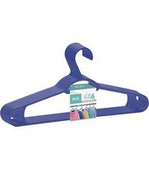 conjunto de cabides dasplast plástico leve 6 e pague 5 azul