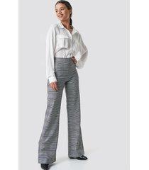 na-kd trend plain high waist flared pants - grey