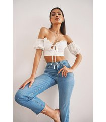 broderie anglaise bardot crop top