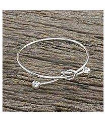 sterling silver bangle pendant bracelet, 'tie the knot' (thailand)