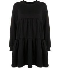 cynthia rowley vail cozy gathered swing dress - black