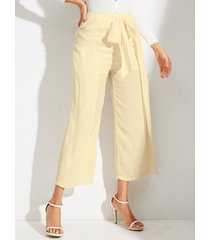 yoins pernera ancha con lazo beige, cintura alta pantalones