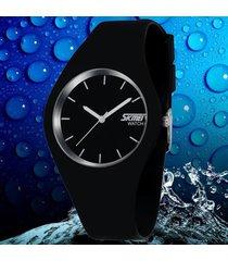 reloj skmei correa de silicona unisexo casual color negro