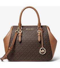 mk borsa a mano charlotte grande in pelle con logo - marrone (marrone) - michael kors