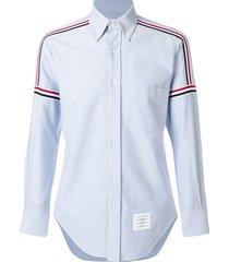 thom browne rwb elastic stripe oxford shirt - blue
