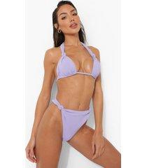 geknoopt tanga bikini broekje met textuur, lilac