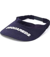 dsquared2 logo-print visor - blue