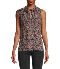 eva printed sleeveless blouse