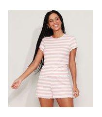 pijama feminino listrado manga curta rosa