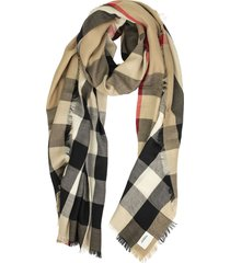 burberry lightweight check cashmere scarf archive beige