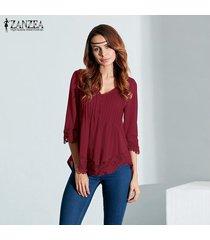 zanzea blusas de las mujeres de encaje elegante camisas otoño blusas tops asimétrico sólido ocasional del v cuello de la manga 3/4 con capucha (vino tinto) -rojo