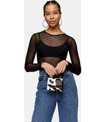 black mesh long sleeve bodysuit - black