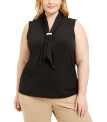adrienne vittadini plus size draped scarf top