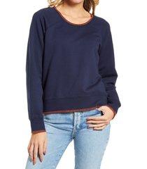 women's madewell women's stitched shrunken sweater, size xx-large - blue