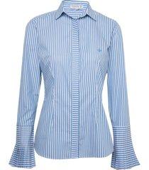 camisa dudalina manga longa tricoline fio tinto punho pregas feminina (listrado, 42)