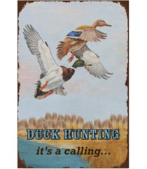 """jean plout 'duck hunting calling' canvas art - 12"""" x 19"""""""