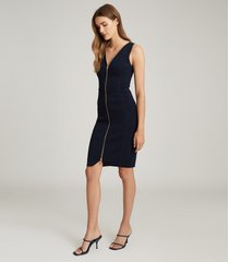 reiss eva - zip detailed bodycon dress in navy, womens, size xl