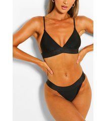 metallic band detail triangle high leg bikini set