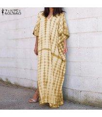 zanzea de s-5xl mujeres largo manga del batwing del vestido maxi raya escotado camisa de vestir de tamaño extra grande -amarillo