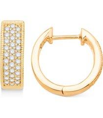 """diamond small hoop earrings (1/4 ct. t.w.) in 14k gold, 0.5"""""""