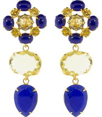 bounkit jewelry lemon quartz and lapis drop clip-on earrings - blue