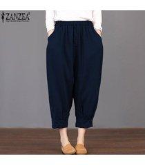 zanzea loose women básico de cintura alta pantalones capris cosechado más el tamaño de los pantalones -azul