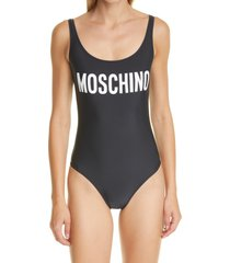moschino logo one-piece swimsuit, size 6 us in fantasy print black at nordstrom