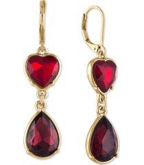 rachel rachel roy gold-tone crystal heart double drop earrings