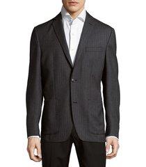 saks fifth avenue men's herringbone wool jacket - charcoal - size 44 r