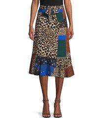 patchwork belted skirt