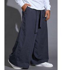 hombres estilo japonés anudado pierna ancha recta suelta pantalones