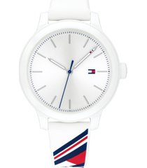 tommy hilfiger women's white silicone strap watch 38mm, created for macy's