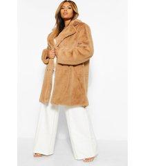 plus faux fur jas met dubbele knopen, kameel
