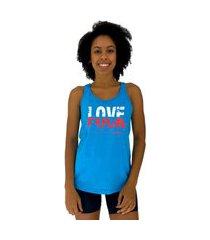 regata feminina alto conceito love f*** azul piscina