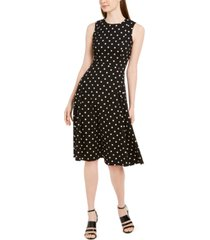 calvin klein polka-dot fit & flare dress
