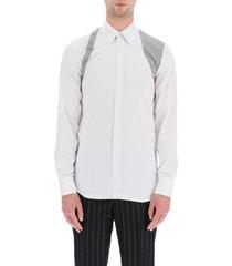 alexander mcqueen striped harness shirt