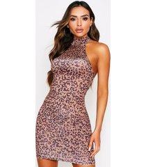 leopard print slinky high neck dress, camel