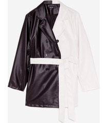 womens belt behavior plus two-tone faux leather jacket - black