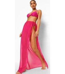 chiffon strand sarong met ceintuur, bright pink