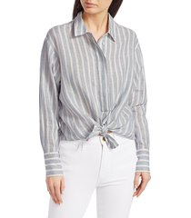frame women's striped tie button-up shirt - chambray multi - size s